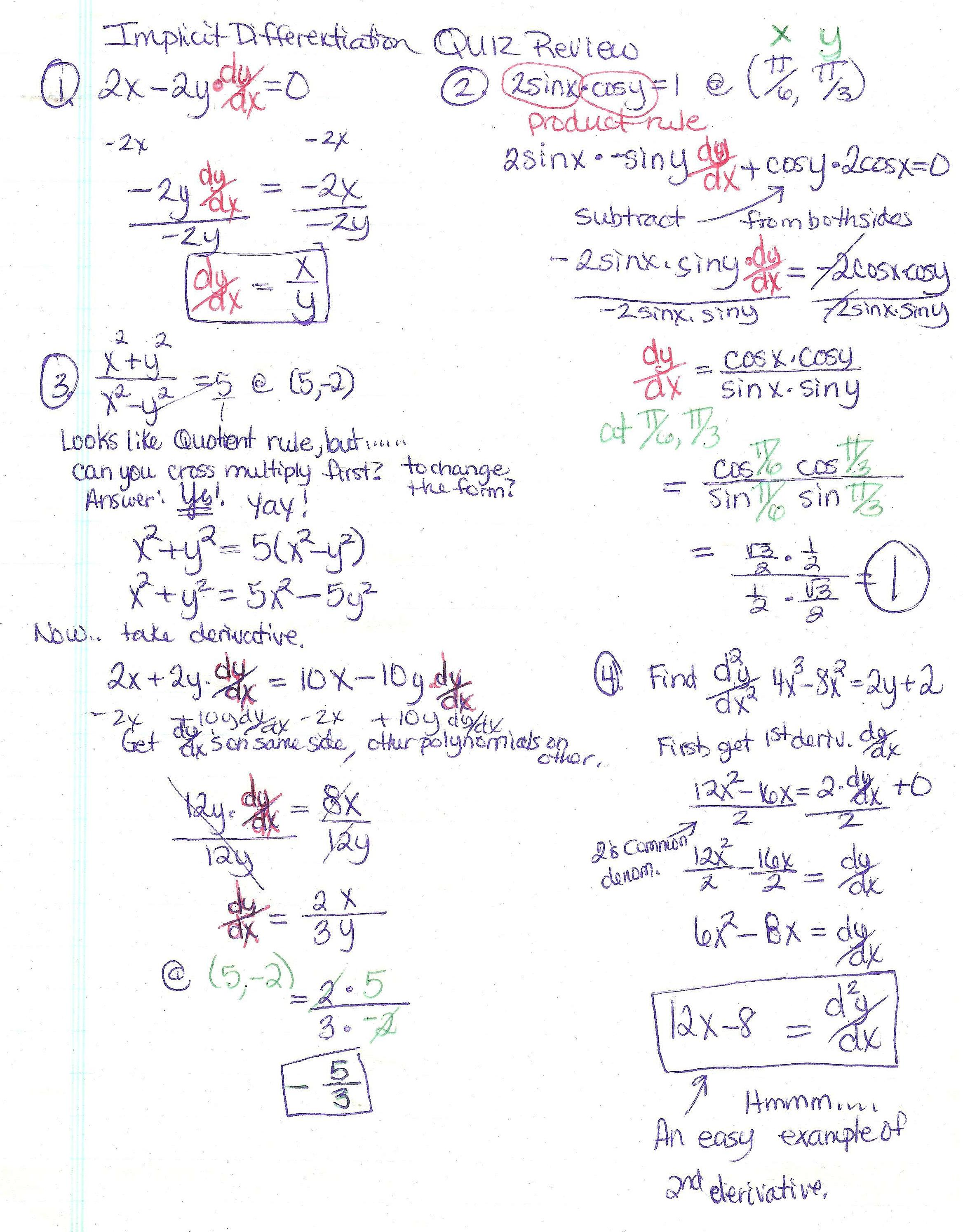 1st AP Calc Resources Page PennyJessupsmath WebPage – Product and Quotient Rule Worksheet